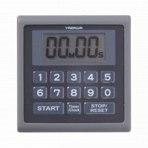 ヤザワ 防滴仕様 デジタルタイマー マグネット/時計機能/ストラップ付 ブラック T34BK