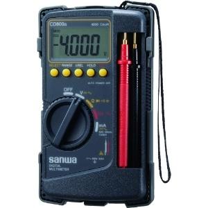 三和電気計器 デジタルマルチメータ ケース一体型 10ファンクション 直流電圧/電流 交流電圧/電流 抵抗 コンデンサ容量 周波数 デューティ比 導通 ダイオードテスト CD800a