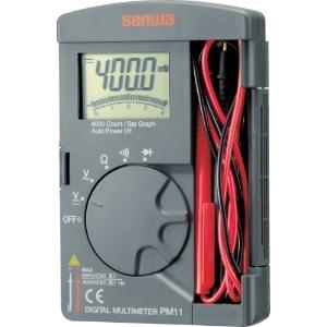 三和電気計器 デジタルマルチメータ ポケットタイプ テスト棒固定機能 5ファンクション 直流電圧 交流電圧 抵抗 導通 ダイオードテスト PM11