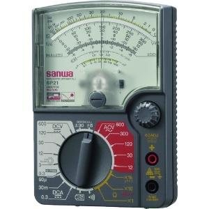 三和電気計器 アナログマルチテスタ 耐衝撃メータ 8ファンクション 直流電圧/電流 ±直流電圧 交流電圧 抵抗 コンデンサ容量 導通 バッテリーチェック SP21