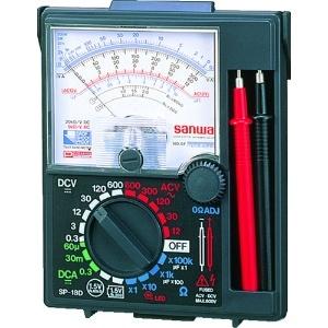 三和電気計器 アナログマルチテスタ ケース一体型 6ファンクション 直流電圧/電流 交流電圧 抵抗 バッテリーチェック コンデンサ容量 SP-18D