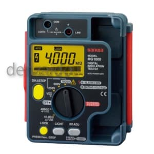 三和電気計器 絶縁抵抗計 デジタル 防塵防滴(IP54)設計 自動放電機能 3レンジ式 定格電圧:1000/500/250V 抵抗測定:4000MΩ MG1000