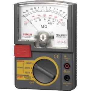 三和電気計器 絶縁抵抗計 アナログ 自動放電機能 3レンジ式 定格電圧:125/250/500V 抵抗測定:100MΩ PDM5219S