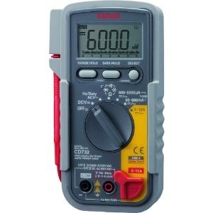 三和電気計器 デジタルマルチメータ 10ファンクション 直流電圧/電流 交流電圧/電流 抵抗 コンデンサ容量 周波数 デューティ比 導通 ダイオードテスト CD732