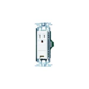 パナソニック 埋込アースターミナル付接地コンセント 金属取付枠付 15A 125V ホワイト WTF11313WK