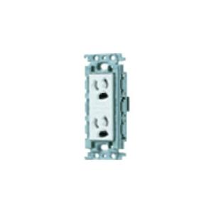 パナソニック 埋込抜け止め接地ダブルコンセント 絶縁取付枠付 15A 125V ホワイト WTF11624WK