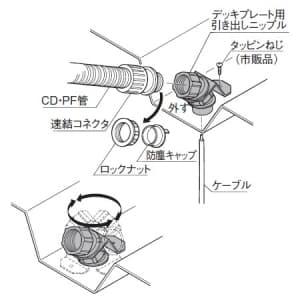 パナソニック デッキプレート用引き出しニップル CD管・PF管共用 呼び16 ウォームグレイ デッキプレート用引き出しニップル CD管・PF管共用 呼び16 ウォームグレイ DMP16DN 画像3