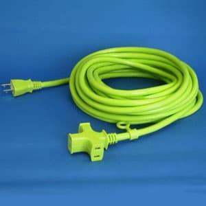 正和電工 トライアングルマルチタップ延長コード 3個口 10m 若草 VCTM-10GN