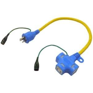 正和電工 抜け止め機能アース付ポッキンプラグ延長コード 3個口 0.5m NDPK-05