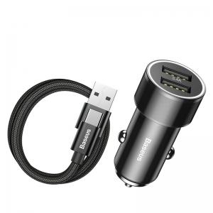電材堂 カーチャージャー 36W 急速充電タイプ USB/Type-A/Type-C 長さ1m ブラック DTZXLDB01