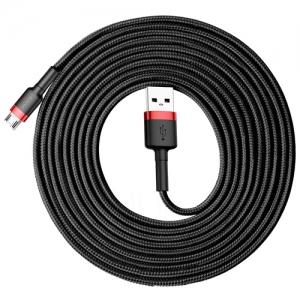 電材堂 USBケーブル USB〜MicroUSB 長さ3m レッド/ブラック DCAMKLFH91