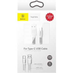 電材堂 USBケーブル 《Toughシリーズ》 USB〜Type-C 長さ1m ホワイト DCATZYB02