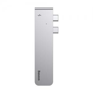 電材堂 USBハブアダプター Type-C用 Thunderbolt3対応 5in1 ディープスペースグレー DCAHUBB0G