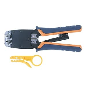 サンワサプライ かしめ工具 ラチェット付 簡易皮むき工具付 HT-500R