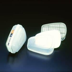 コンビネーション吸収缶 防毒マスク用 通気抵抗280Pa以下 S1ろ過材付 2個入 6002/5911-S1