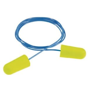 耳栓 《E-A-Rsoft》 イエローネオン 騒音作業用 ひも付タイプ フリーサイズ 311-1250