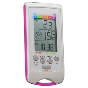 カスタム 【生産完了品】乾燥指数計・熱中症指数計付UVチェッカー 時計表示機能・白色LEDライト付 UVH-01