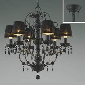 LEDシャンデリア 《クアドネーロ》 LEDランプ交換可能型 白熱球40W×6灯相当 電球色 5.0W×6灯 口金E17 AA40909L