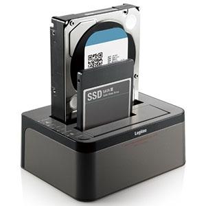 ELECOM 2BAYデュプリケーターケース スタンド型 エラースキップ搭載 HDD/SSD対応 LGB-2BDPU3ES