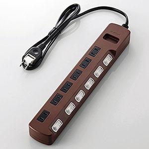 ELECOM 個別スイッチ付雷ガードタップ 《Color Style》 6個口 長さ1m T-BR04-2610BR