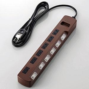 ELECOM 個別スイッチ付雷ガードタップ 《Color Style》 6個口 長さ2m T-BR04-2620BR