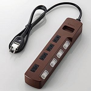 ELECOM 個別スイッチ付雷ガードタップ 《Color Style》 4個口 長さ1m T-BR02-2410BR