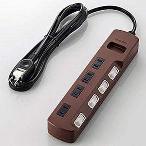 ELECOM 個別スイッチ付雷ガードタップ 《Color Style》 4個口 長さ2m T-BR02-2420BR