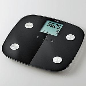 ELECOM 体組成計 《ECLEAR》 電池式 計量範囲2.5〜150kg ブラック HCS-FS01BK