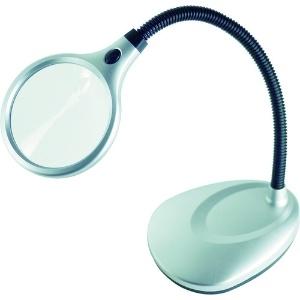 エンジニア LEDスタンドルーペ コードレスタイプ レンズLED×2灯 倍率2倍・5倍 フレキシブルアーム式 SL-23