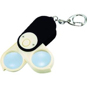 エンジニア LEDポケットルーペ 白色LED高輝度ライト×1灯 倍率4倍・6倍・10倍(2枚重ね) キーホルダー付 SL-47