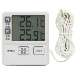 ドリテック 室内室外温度計 室内外温度同時表示 外部センサーコード長3m付 O-285IV