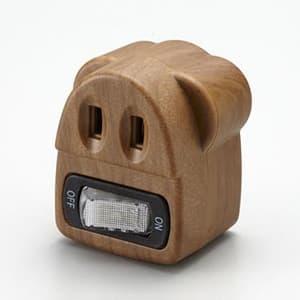 旭電機化成 【生産完了品】節電コンセント 木目タイプ 定格125V 15A 照光式タンブラースイッチ ASW-001MO