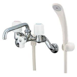 2ハンドルシャワー混合栓 壁付タイプ 寒冷地用 シャワーホース付 1378SKK