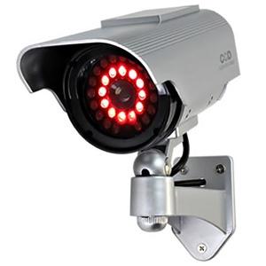 オンスクエア 防犯ダミーカメラ ソーラー充電式 軒下防滴仕様 赤色LED×12灯 赤外線暗視タイプ OS-163R