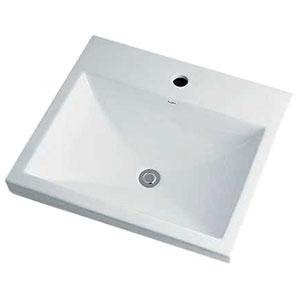 角型洗面器 《Luju》 1ホール・半埋めタイプ 容量6.5L 排水・国内1 オーバーフロー機能付 493-003