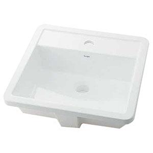 角型洗面器 《Luju》 オーバーカウンタータイプ 容量4.5L 排水・国内3 オーバーフロー機能付 493-075