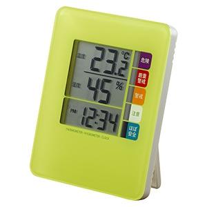 電材堂 【生産完了品】時計付デジタル熱中症計 グリーン DO04GRECO