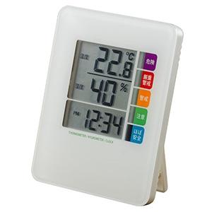 電材堂 【生産完了品】時計付デジタル熱中症計 ホワイト DO04WHECO