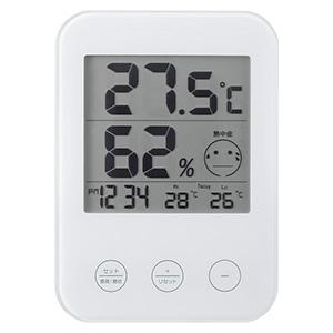 電材堂 デジタル温湿度計 熱中症・インフルエンザ警報付 ホワイト DO02WHECO