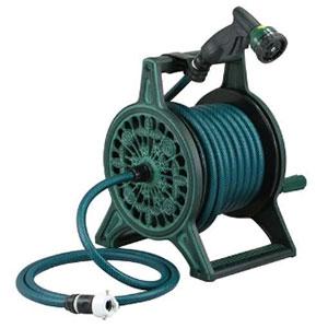 レトロホースリール 散水・屋外冷却用 グリーン 553-801
