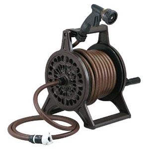 レトロホースリール 散水・屋外冷却用 ブラウン 553-802