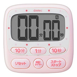 ドリテック 時計付大画面タイマー 最大セット時間199分50秒 ピンク T-566PK