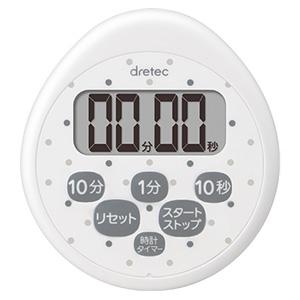 ドリテック 時計付防水タイマー 最大セット時間99分50秒 ホワイト T-565WT