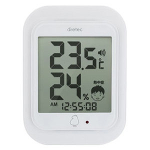 ドリテック デジタル温湿度計 《ルーモ》 熱中症警告アラーム・ランプ付 ホワイト O-293WT
