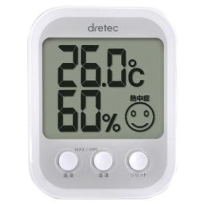 ドリテック デジタル温湿度計 《オプシスプラス》 熱中症・インフルエンザ警告付 ホワイト O-251WT