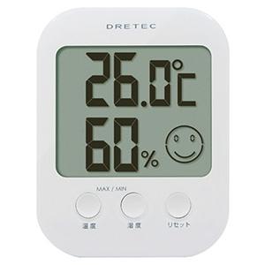 ドリテック デジタル温湿度計 《オプシス》 快適度5段階表示機能付 ホワイト O-230WT