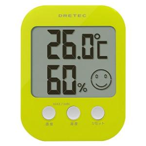 ドリテック デジタル温湿度計 《オプシス》 快適度5段階表示機能付 グリーン O-230GN