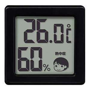 ドリテック 小さいデジタル温湿度計 熱中症・インフルエンザ警告付 ブラック O-257BK