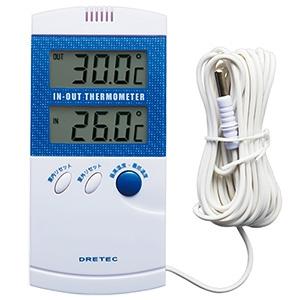 ドリテック 室内室外温度計 室内外温度同時表示 室外センサーコード2.8m付 O-209BL