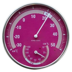 ドリテック 温湿度計 アナログ式 快適温度・湿度範囲目盛付 ピンク 電池不要 O-310PK